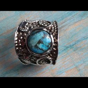 Sterling silver & turquoise artisan ring 8